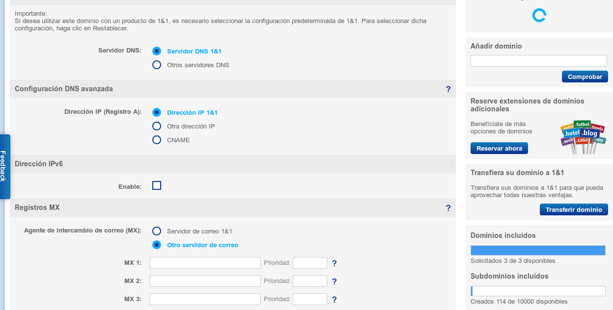 1and1 gestion dns